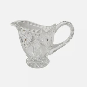 Mitre Cut Crystal Creamer Silver Point 1970s
